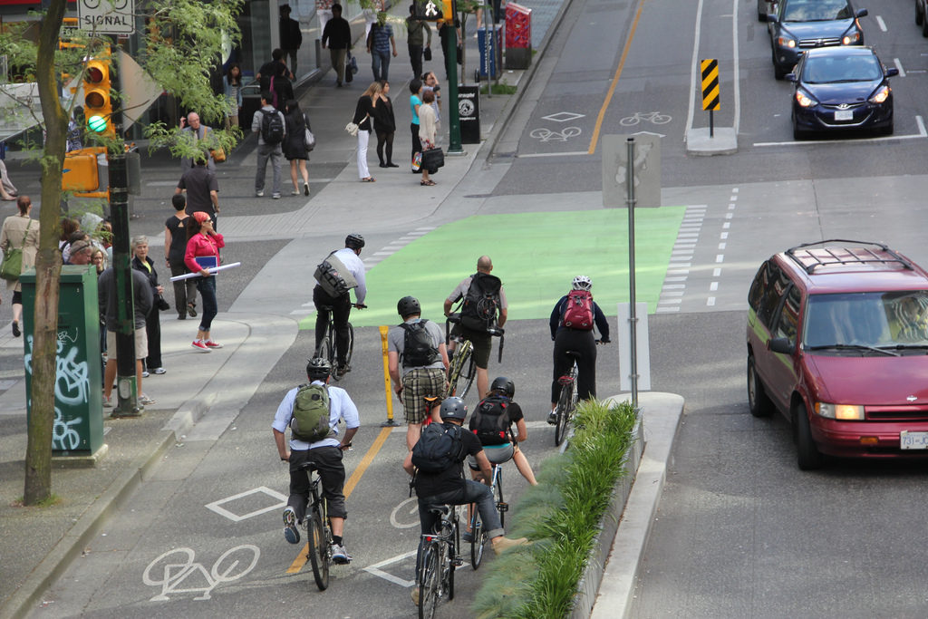 A downtown Vancouver bike lane (Paul Krueger/Flickr)