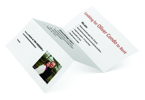 Empty fold flyer isolated on white with clipping path